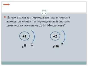 На что указывает период и группа, в которых находится элемент в периодической