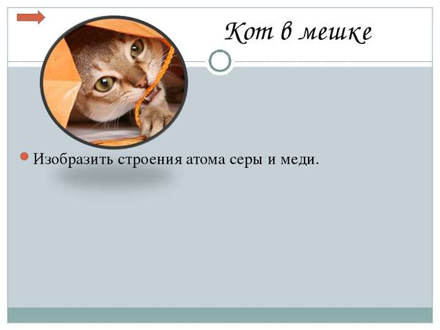 Кот в мешке Изобразить строения атома серы и меди.