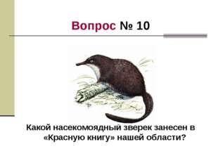 Вопрос № 10 Какой насекомоядный зверек занесен в «Красную книгу» нашей области?