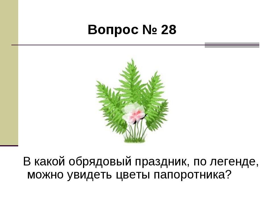 Вопрос № 28 В какой обрядовый праздник, по легенде, можно увидеть цветы папо...
