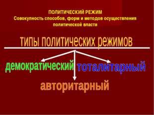 ПОЛИТИЧЕСКИЙ РЕЖИМ Совокупность способов, форм и методов осуществления полити