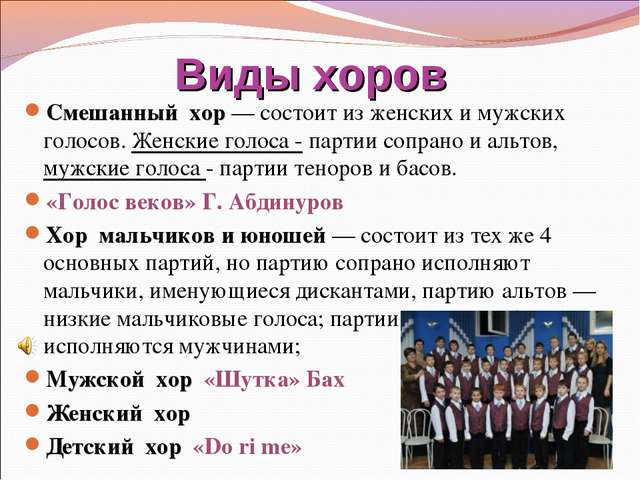 Виды хоров Смешанный хор — состоит из женских и мужских голосов. Женские голо...