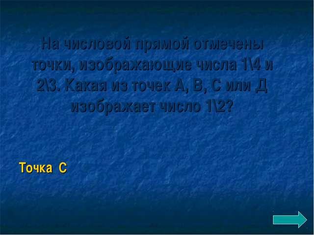 На числовой прямой отмечены точки, изображающие числа 1\4 и 2\3. Какая из точ...