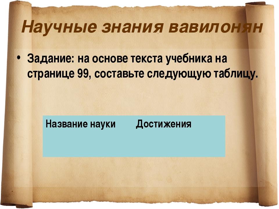 Научные знания вавилонян Задание: на основе текста учебника на странице 99, с...