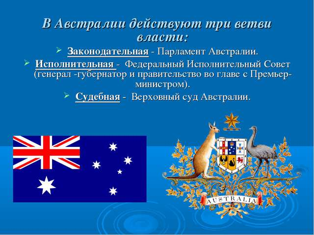 В Австралии действуют три ветви власти: Законодательная - Парламент Австралии...