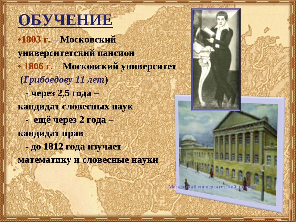 ОБУЧЕНИЕ 1803 г. – Московский университетский пансион 1806 г. – Московский ун...