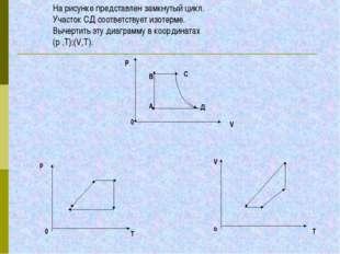 На рисунке представлен замкнутый цикл. Участок СД соответствует изотерме. Выч