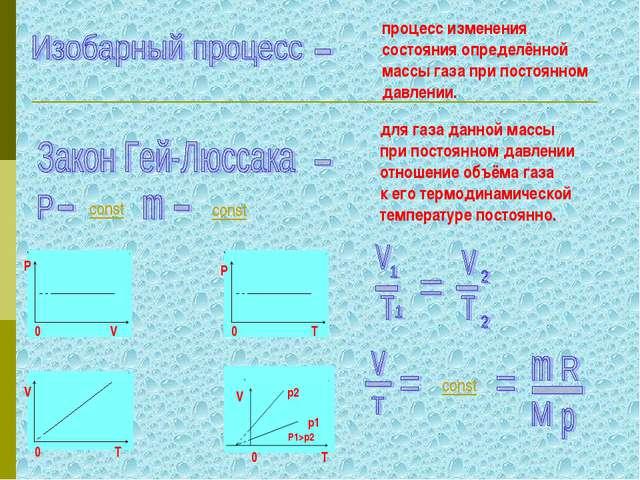 процесс изменения состояния определённой массы газа при постоянном давлении....