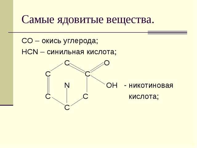 Самые ядовитые вещества. CO – окись углерода; HCN – синильная кислота; C O C...