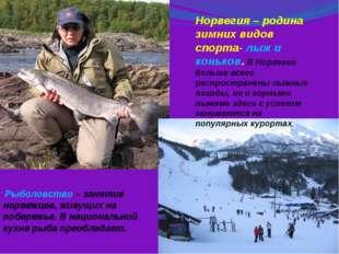 Рыболовство – занятие норвежцев, живущих на побережье. В национальной кухне