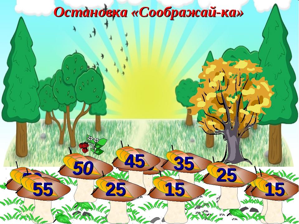 35 45 50 55 50 35 45 15 25 55 15 25 Остановка «Соображай-ка»