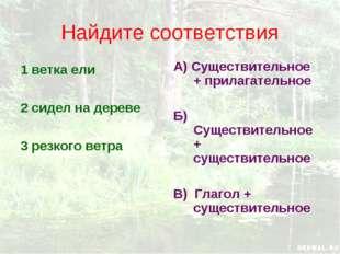 Найдите соответствия 1 ветка ели 2 сидел на дереве 3 резкого ветра А) Существ