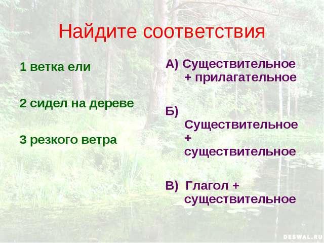 Найдите соответствия 1 ветка ели 2 сидел на дереве 3 резкого ветра А) Существ...