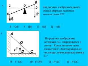 На рисунке изображён рычаг. Какой отрезок является плечом силы F2? 4. На рису