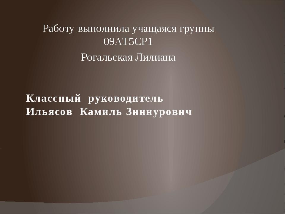 Классный руководитель Ильясов Камиль Зиннурович Работу выполнила учащаяся гру...