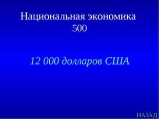 НАЗАД Национальная экономика 500 12 000 долларов США