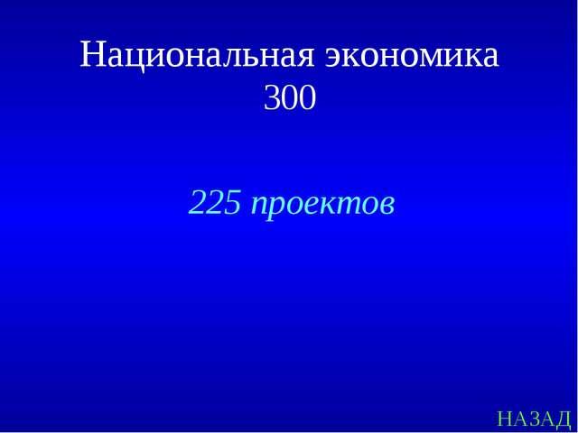 НАЗАД 225 проектов Национальная экономика 300