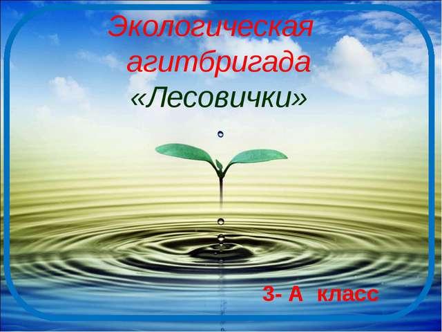Экологическая агитбригада «Лесовички» 3- А класс