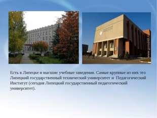 Есть в Липецке и высшие учебные заведения. Самые крупные из них это Липецкий