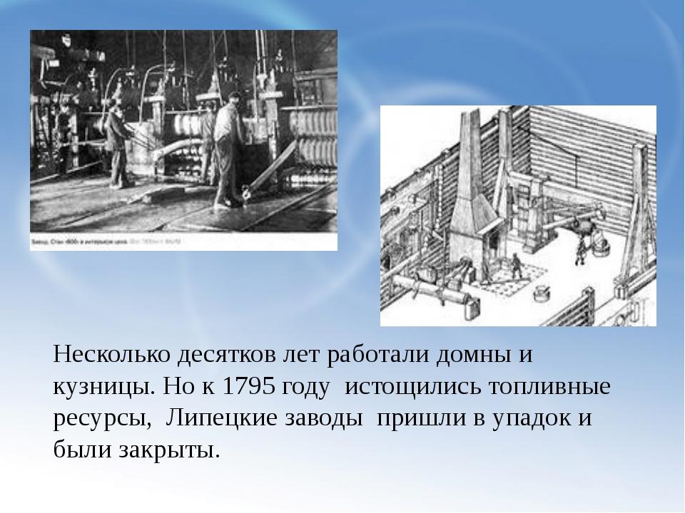 Несколько десятков лет работали домны и кузницы. Но к 1795 году истощились т...