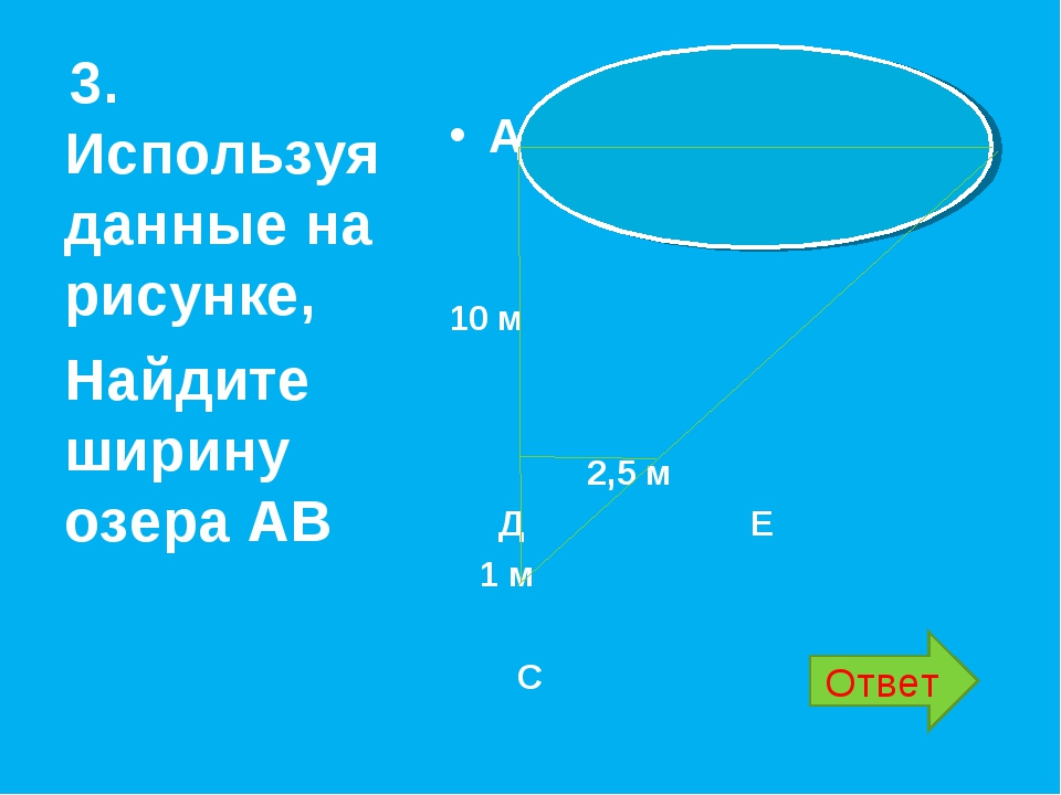 А В 10 м 2,5 м Д Е 1 м С 3. Используя данные на рисунке, Найдите ширину озер...