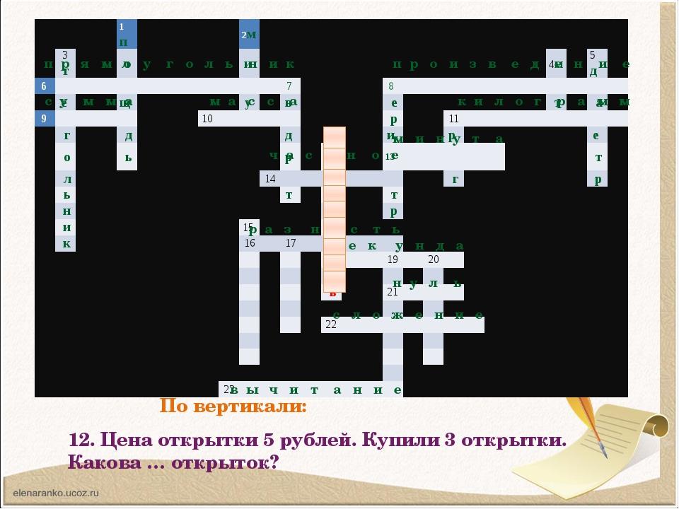 По вертикали: 12. Цена открытки 5 рублей. Купили 3 открытки. Какова … открыто...