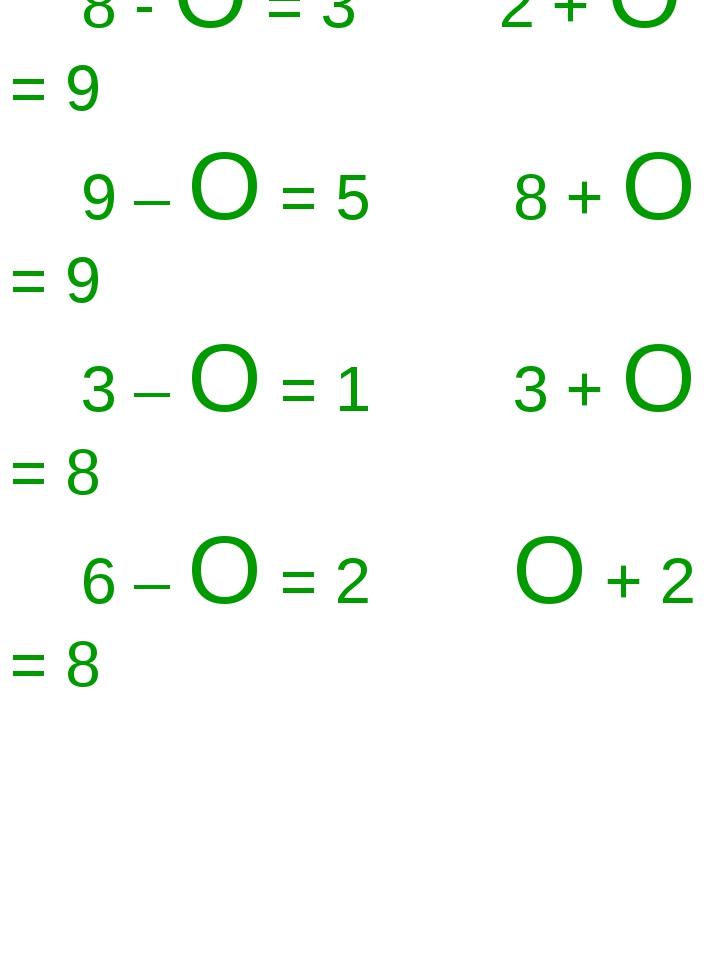 8 - О = 3 2 + О = 9 9 – О = 5 8 + О = 9 3 – О = 1 3 + О = 8 6 – О = 2 О + 2...