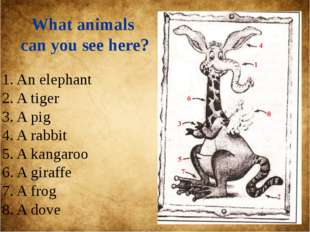 What animals can you see here? 1. An elephant 2. A tiger 3. A pig 4. A rabbit