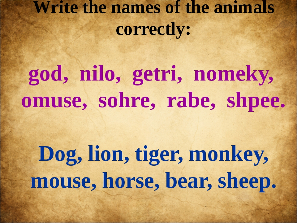 Write the names of the animals correctly: god, nilo, getri, nomeky, omuse, so...