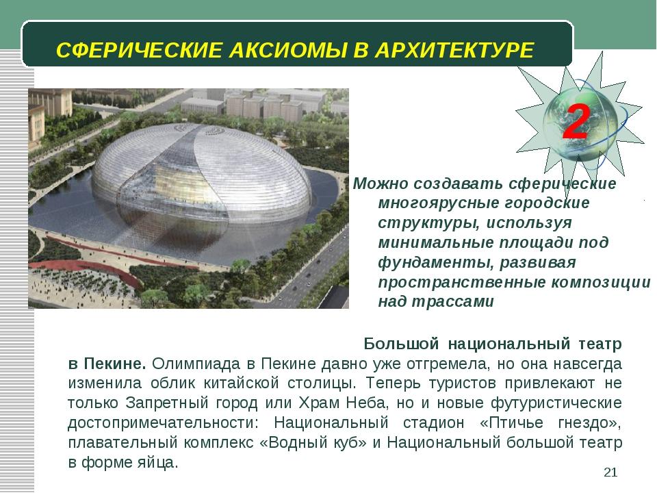 * СФЕРИЧЕСКИЕ АКСИОМЫ В АРХИТЕКТУРЕ 2 Можно создавать сферические многоярусны...