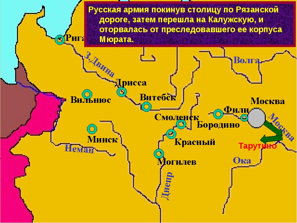 Тарутино Русская армия покинув столицу по Рязанской дороге, затем перешла на...