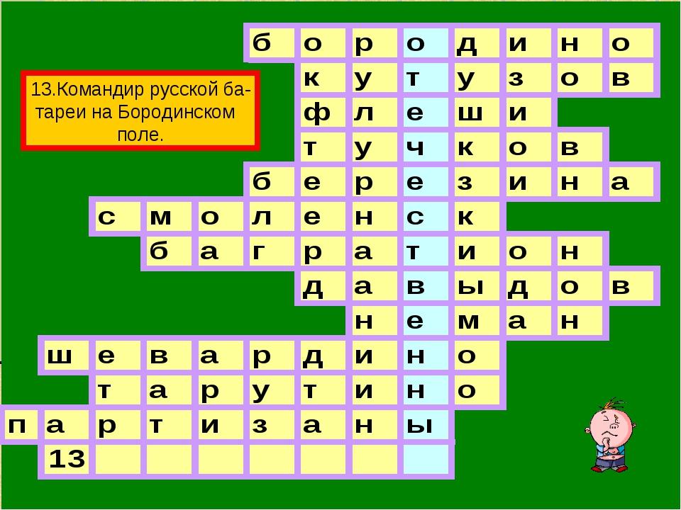 13.Командир русской ба- тареи на Бородинском поле.