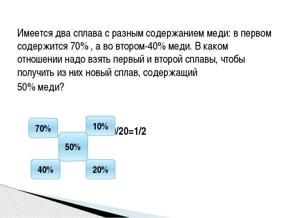 Имеется два сплава с разным содержанием меди: в первом содержится 70% , а во...