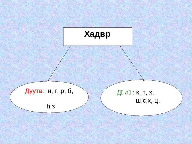 Хадвр Дуута: н, г, р, б, h,з Дүлә: к, т, х, ш,с,х, ц.