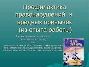 Профилактика правонарушений и вредных привычек (из опыта работы) Вредным прив