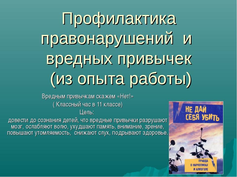 Профилактика правонарушений и вредных привычек (из опыта работы) Вредным прив...