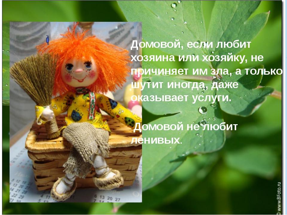 Домовой, если любит хозяина или хозяйку, не причиняет им зла, а только шутит...