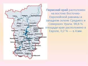 Пермский край расположен на востоке Восточно-Европейской равнины и западном с