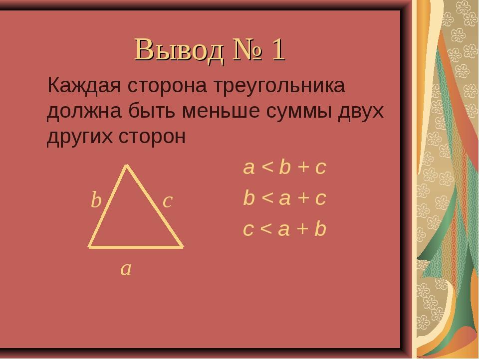 Вывод № 1 Каждая сторона треугольника должна быть меньше суммы двух других с...