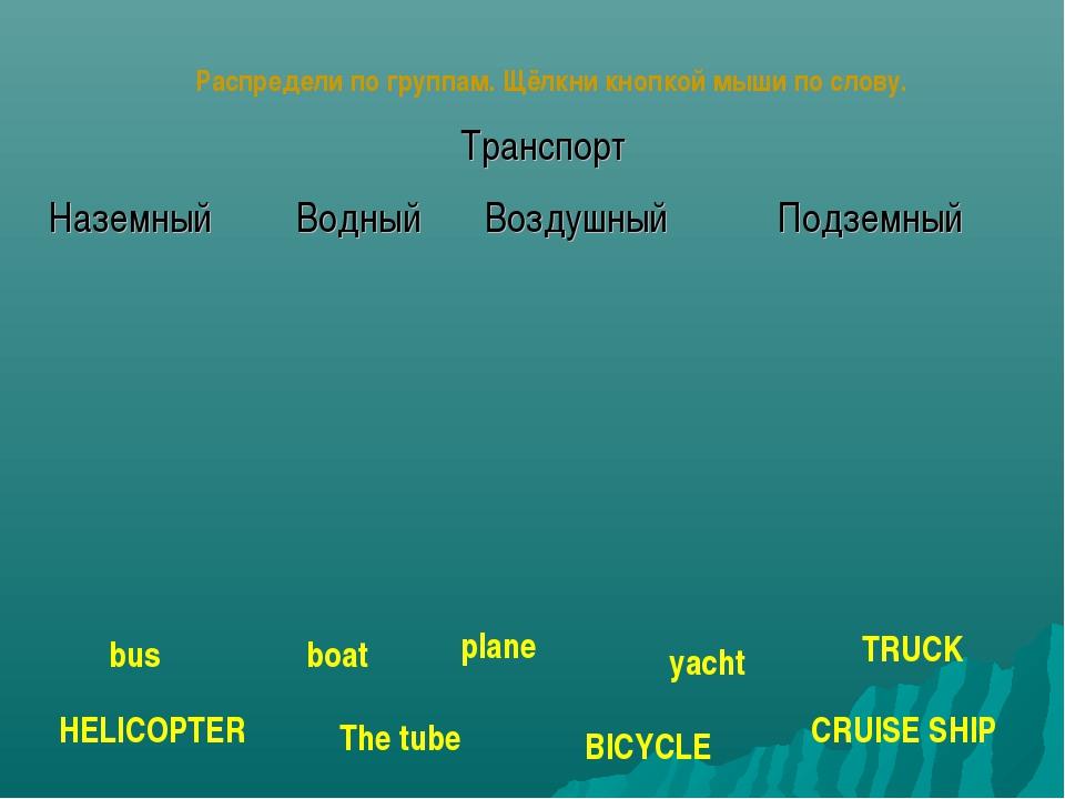Распредели по группам. Щёлкни кнопкой мыши по слову. boat plane bus TRUCK BIC...