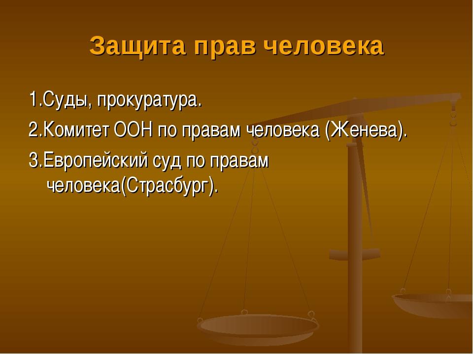 Защита прав человека 1.Суды, прокуратура. 2.Комитет ООН по правам человека (Ж...