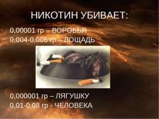 НИКОТИН УБИВАЕТ: 0,00001 гр – ВОРОБЬЯ 0,004-0,005 гр – ЛОЩАДЬ 0,000001 гр – Л