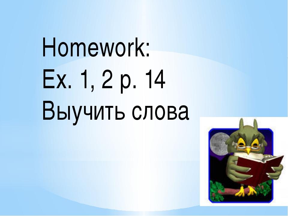 Homework: Ex. 1, 2 p. 14 Выучить слова