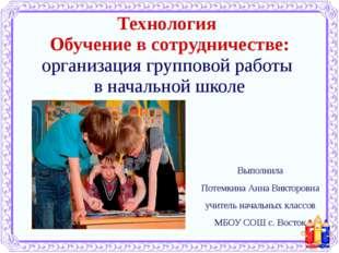 Выполнила Потемкина Анна Викторовна учитель начальных классов МБОУ СОШ с. Вос
