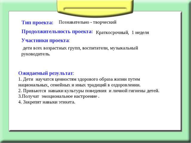 Тип проекта: Познавательно - творческий Продолжительность проекта: Краткосроч...