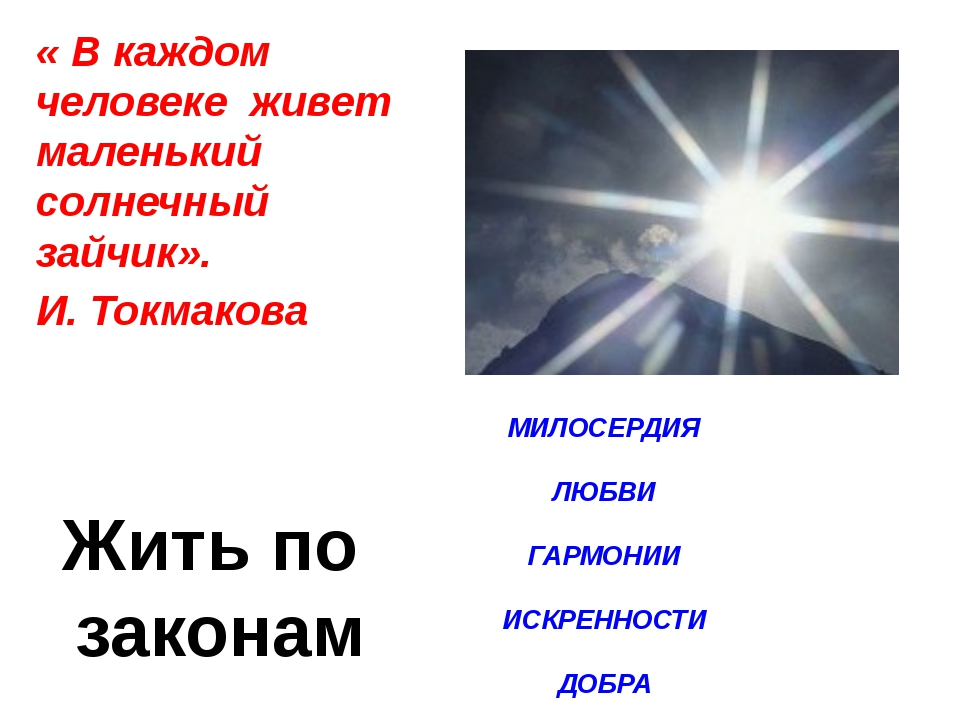 « В каждом человеке живет маленький солнечный зайчик». И. Токмакова  МИЛОСЕ...