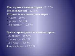 Пользуются компьютером: 87, 5 % Не пользуются – 12,5 % Играют в компьютерные
