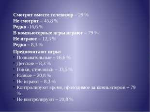 Смотрят вместе телевизор – 29 % Не смотрят – 45,8 % Редко -16,6 % В компьютер