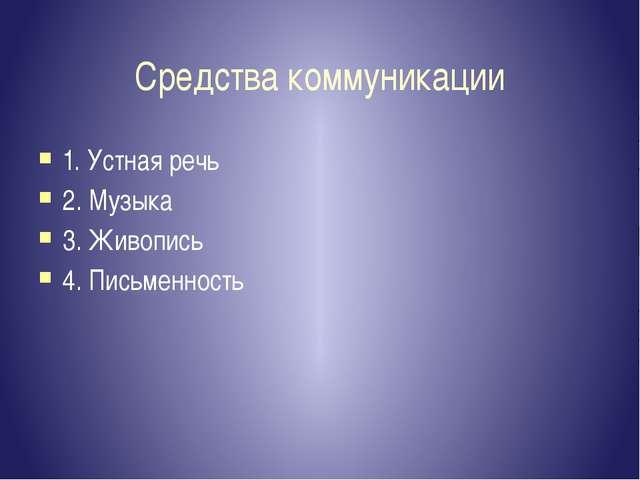 Средства коммуникации 1. Устная речь 2. Музыка 3. Живопись 4. Письменность