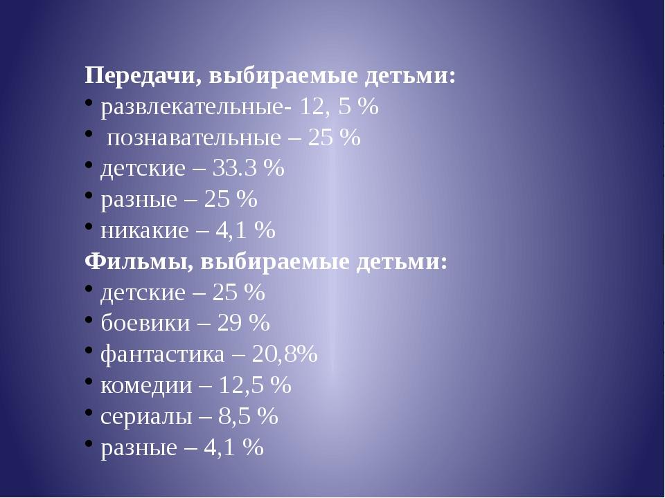 Передачи, выбираемые детьми: развлекательные- 12, 5 % познавательные – 25 % д...